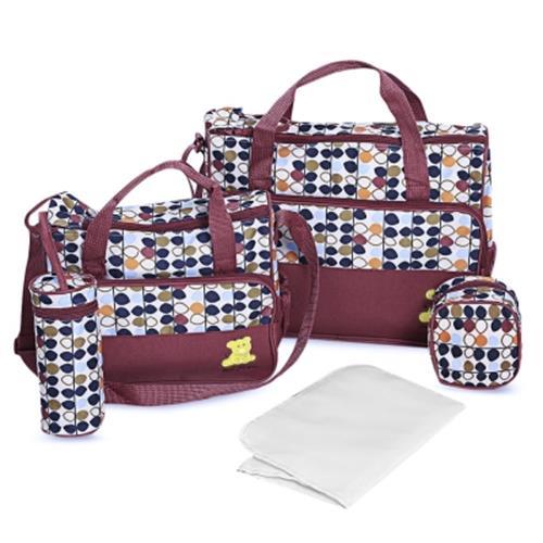5pcs Mummy Handbag Diaper Pad Bottle Holder Food Bags Wine Red