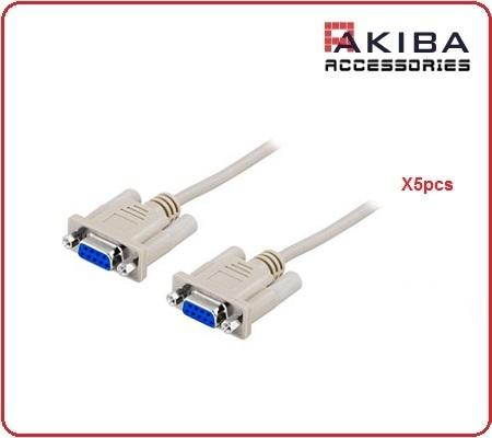 5pcs RS232 F to F DB9 Cross Wire Null Modem Cable (1.3m)