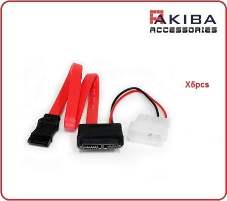 5pcs SATA Slimline Cable 13p F to 7p F with 4p M Power