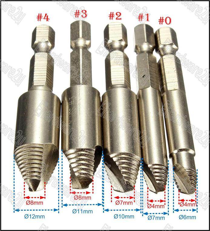 5PCS STRIPPED SCREW EXTRACTOR REMOVAL SET (SE05H)