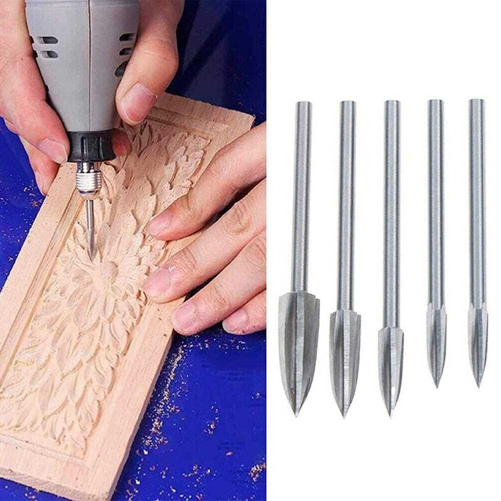 5Pcs Woodworking Carving Tool Wood Carving Drill Bit Drilling
