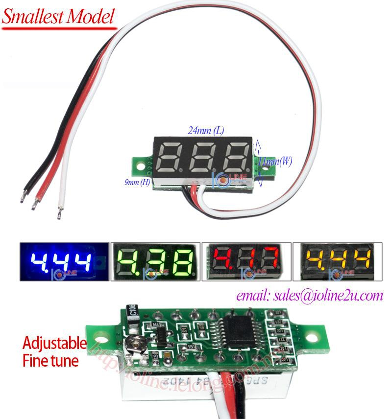 5V 12V 24V 48V 100V DC Digital voltmeter Yellow voltage meter support Calibrat