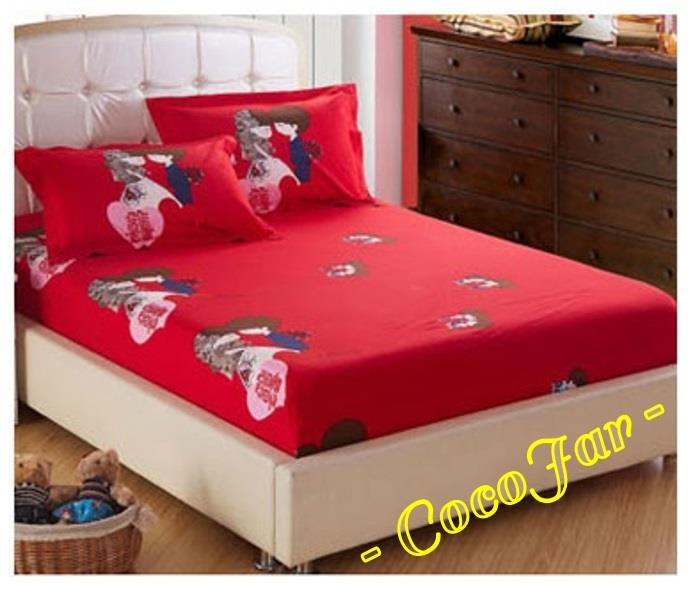 6 in 1 Sweet Couple Wedding Fitted Bedding Set With Comforter Red