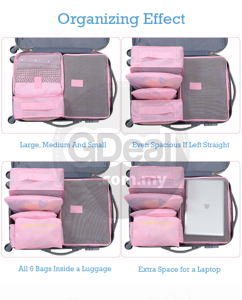 6-In-1 Waterproof Toiletries Pouch Clothes Storage Bag Travel Luggage