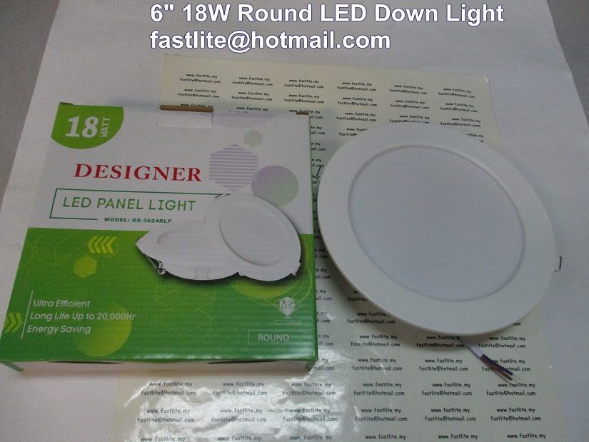 "6"" 18W Round Cool Daylight LED down light"