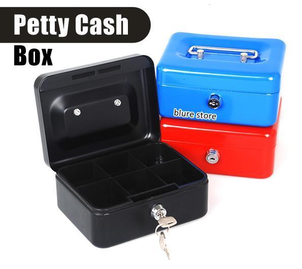 6f05cd374b48 6' 8' 10' 12' Steel Metal Money Box Petty Cash Box Safe Lock + Keys