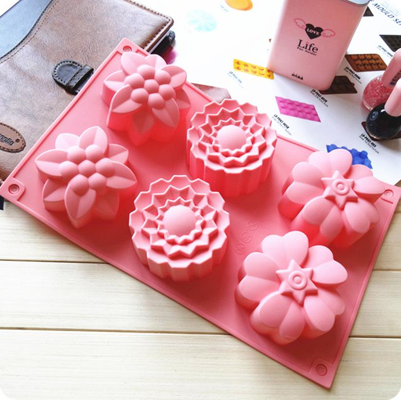 6 Cavities 3 Flower Silicone Moon Cake Soap Jelly Mould Mold. ‹ ›