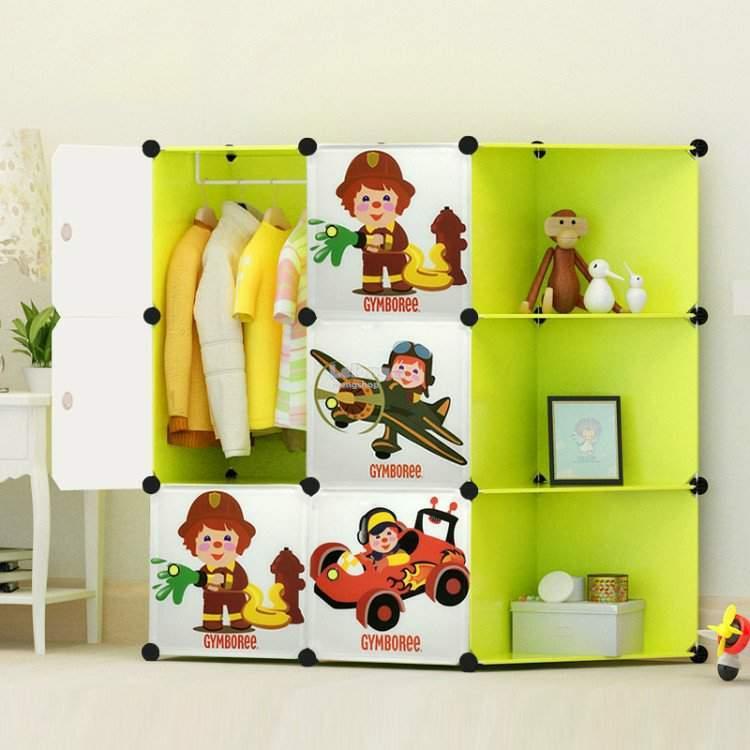 6 DIY Box Cube Fireman Set With Corner Shelves Storage Cabin