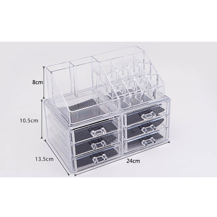 6-Drawer 3-Tier Layers Clear Acrylic Cosmetic Rack Organizer