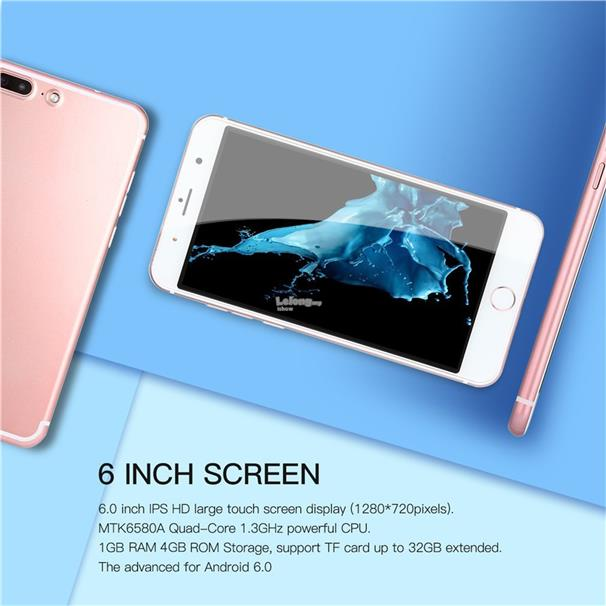6 inch 1GB RAM 4GB ROM Quad Core Mobile Phone Dual SIM for Android 6.0