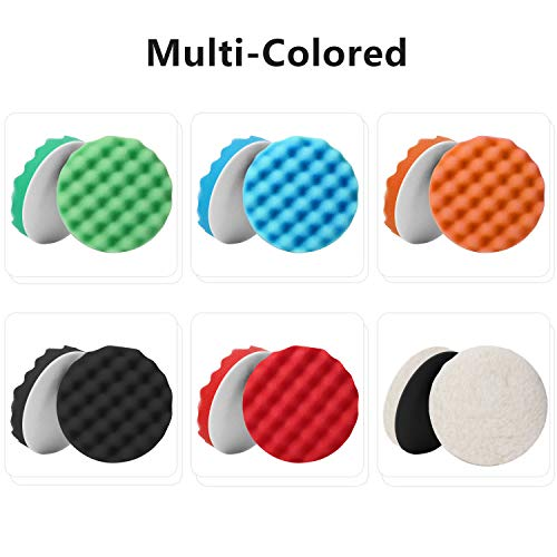 6 Inch Waffle Foam and Wool Polishing Pads Set, Waffle Foam Buffing Pads and W