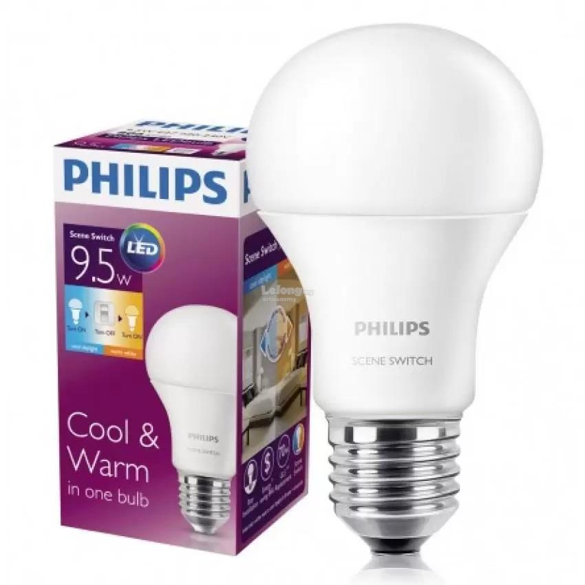 6 Pcs (per box)  Original Philips Scene Switch LED Bulb 9.5W 2 in 1