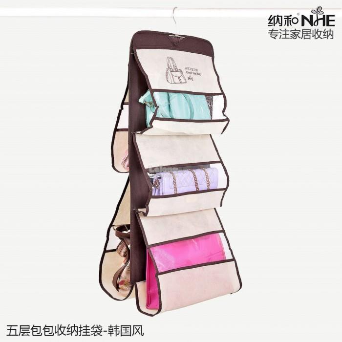 6 Pocket Shelf Bags Purse Handbags Hanging Organizer Storage Closet Ra