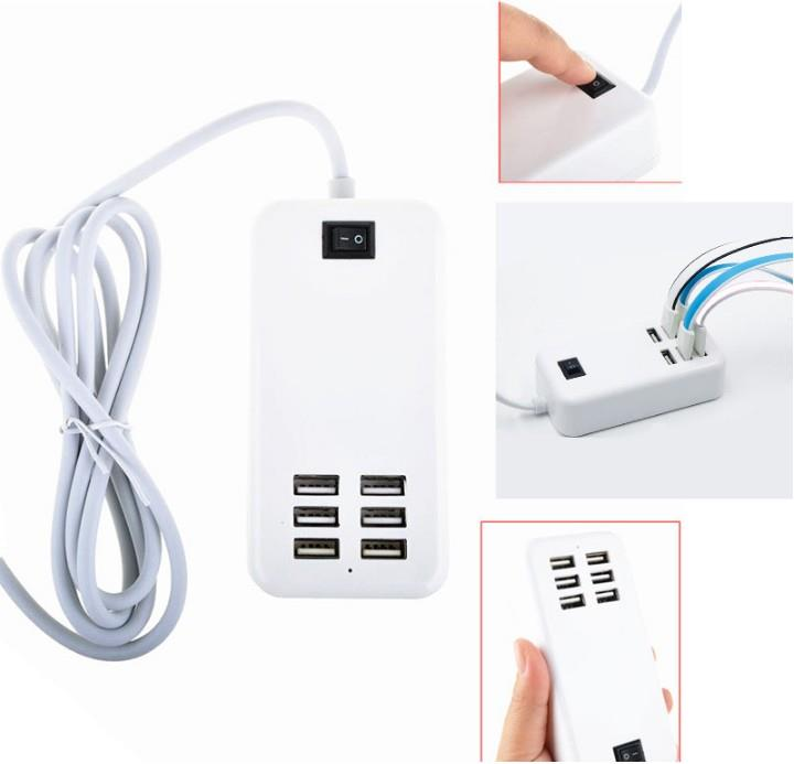 6 port USB Wall Charger Power Adapter 6A switch 30W Android iphone 4 5