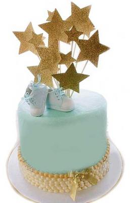 6 Silver And Gold Stars Birthday Cake Topper
