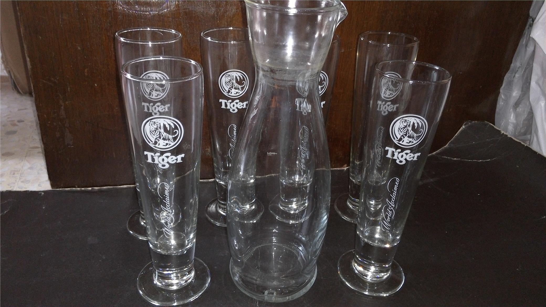 6 TIGER BEER TALL GLASS CUP + 1 JUG (ITALY MADE)