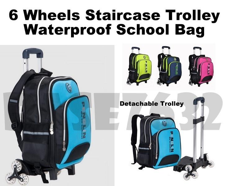 6 Wheel Wheels Climb Detachable Backpack School Bag Trolly Trolley