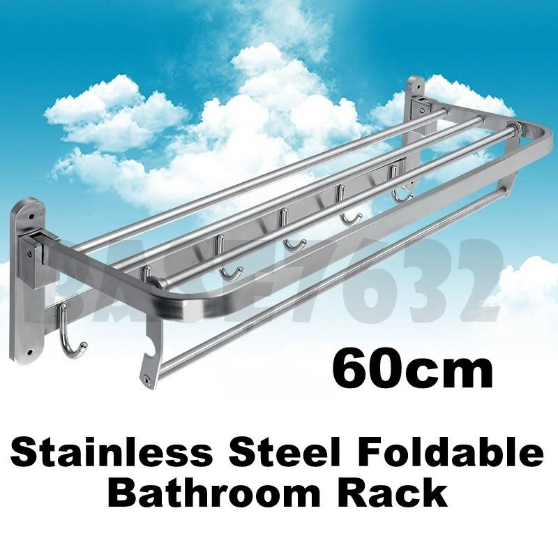 60cm 304 Stainless Steel Bathroom Foldable Towel 6 Hooks Hanger Rack