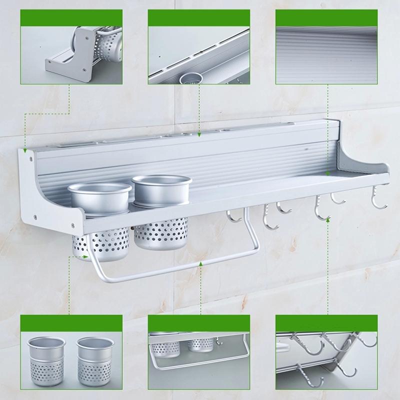 60cm Aluminium Kitchen Storage Rack Knife Rest Wall Mounted Shelves Sh