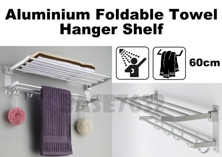 60cm  Bathroom Aluminum Foldable Towel Hook Holder Hanger Rack Shelf