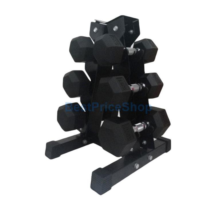 60KG Premium Hexagon Dumbbell Set with 3-Tier A Frame Dumbbells Rack