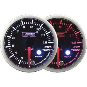 60mm Amber and White LED Exhaust Temp Gauge with Peak and Warning