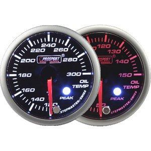 60mm Amber and White LED Oil Temp Gauge with Peak and Warning