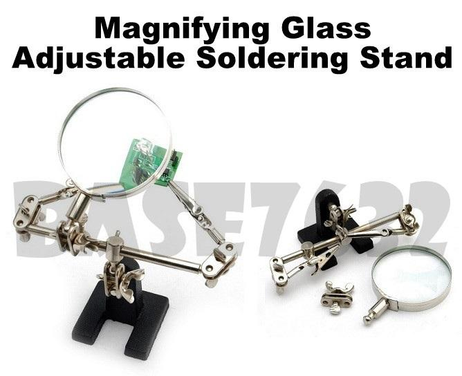 60mm Magnifier Magnifying Glass Soldering Clamp Clips Metal Stand Tool