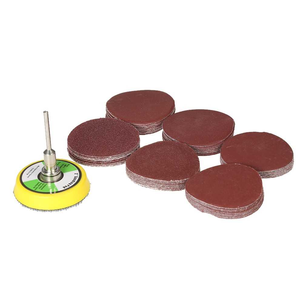 "60PCS 50mm 2 "" Sander Disc Sanding Disk 100-2000 Grit Paper with 2inch Ab"