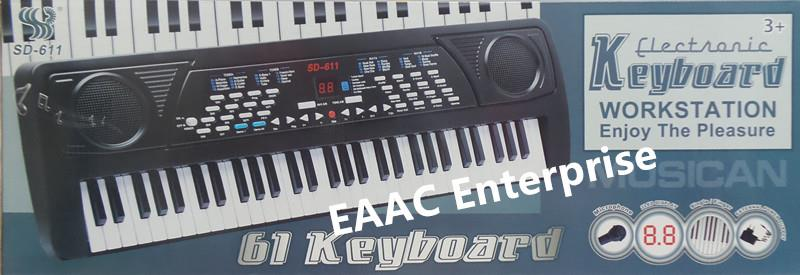 61 Keys Electronic Keyboard Piano Organ With Microphone 2 Power Mode