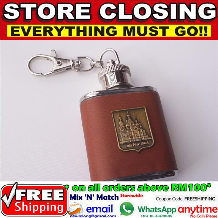 [6104] Liquor Alcohol Keychain Flask Stainless Steel Bottle Whiskey Wi