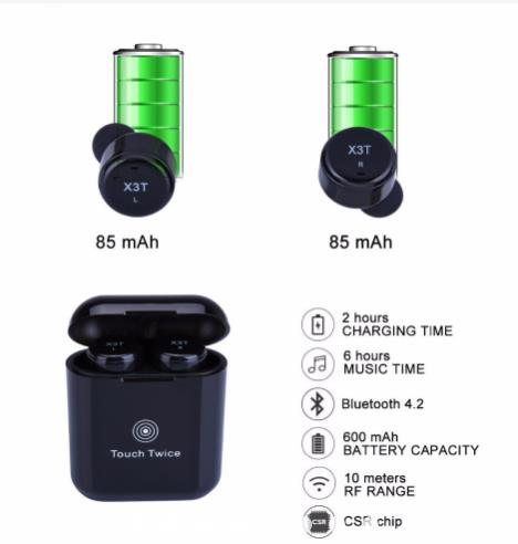 NEW 2018 X3T earbuds with charging case Super Min..
