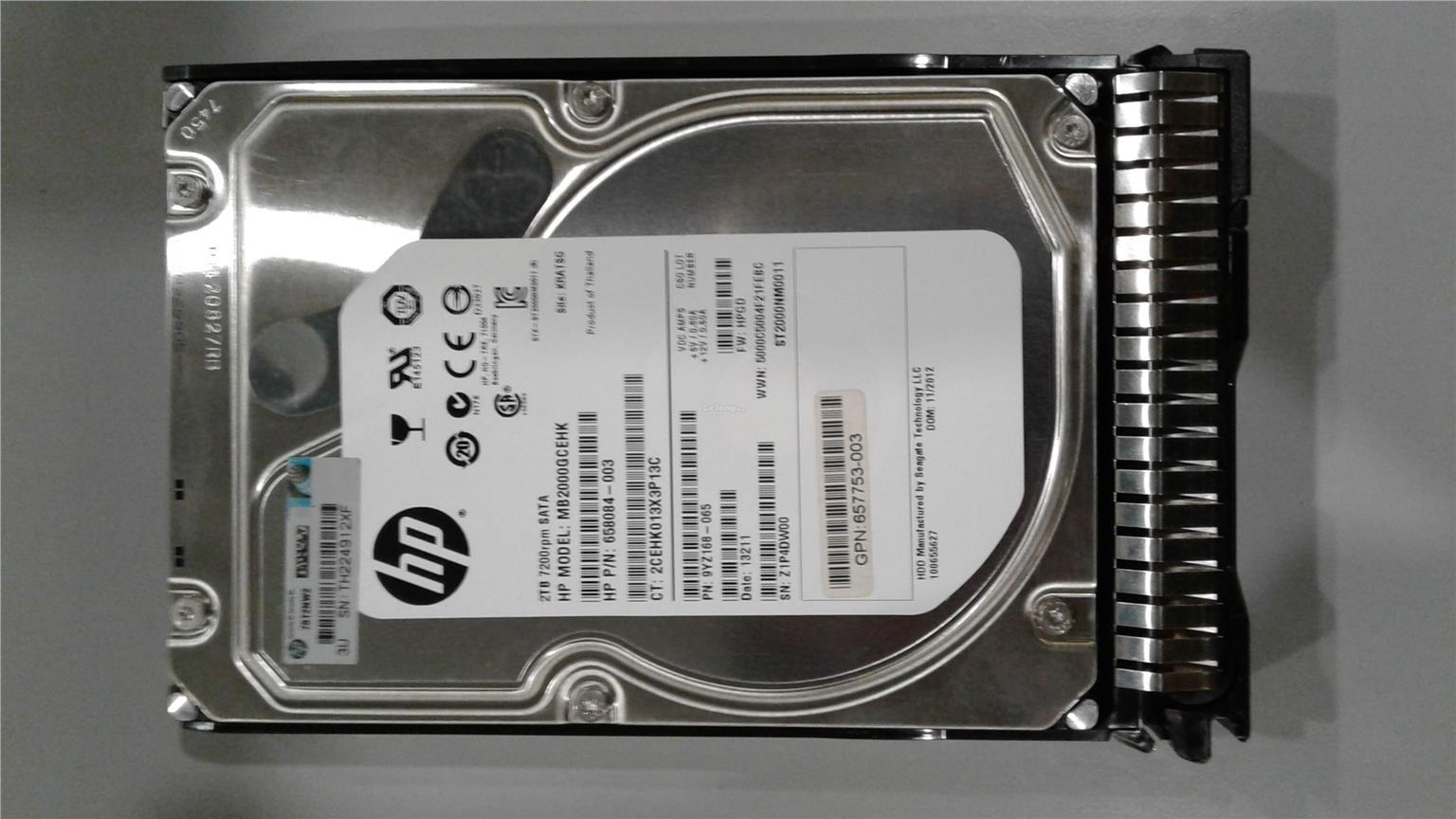 658084-003 HP  SATA 6G 2TB 7.2K SC Hard Drive 658079-B21 658102-001 W//Blank Tray