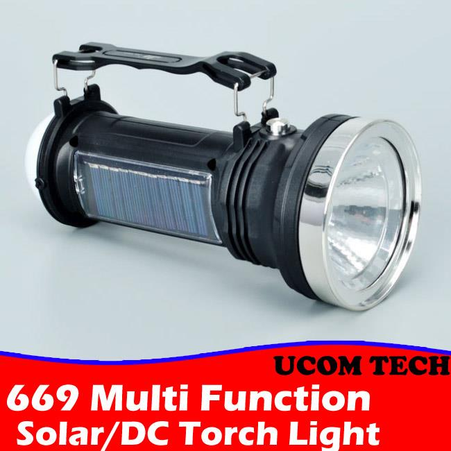669 Multi Function Solar/DC Charging Led Lamp Torch Light Torchlight
