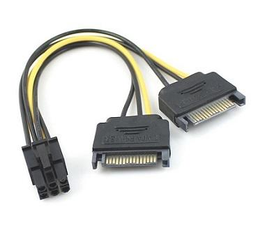 6p Male PCIe Power to Dual Y SATA 15p Splitter Cable