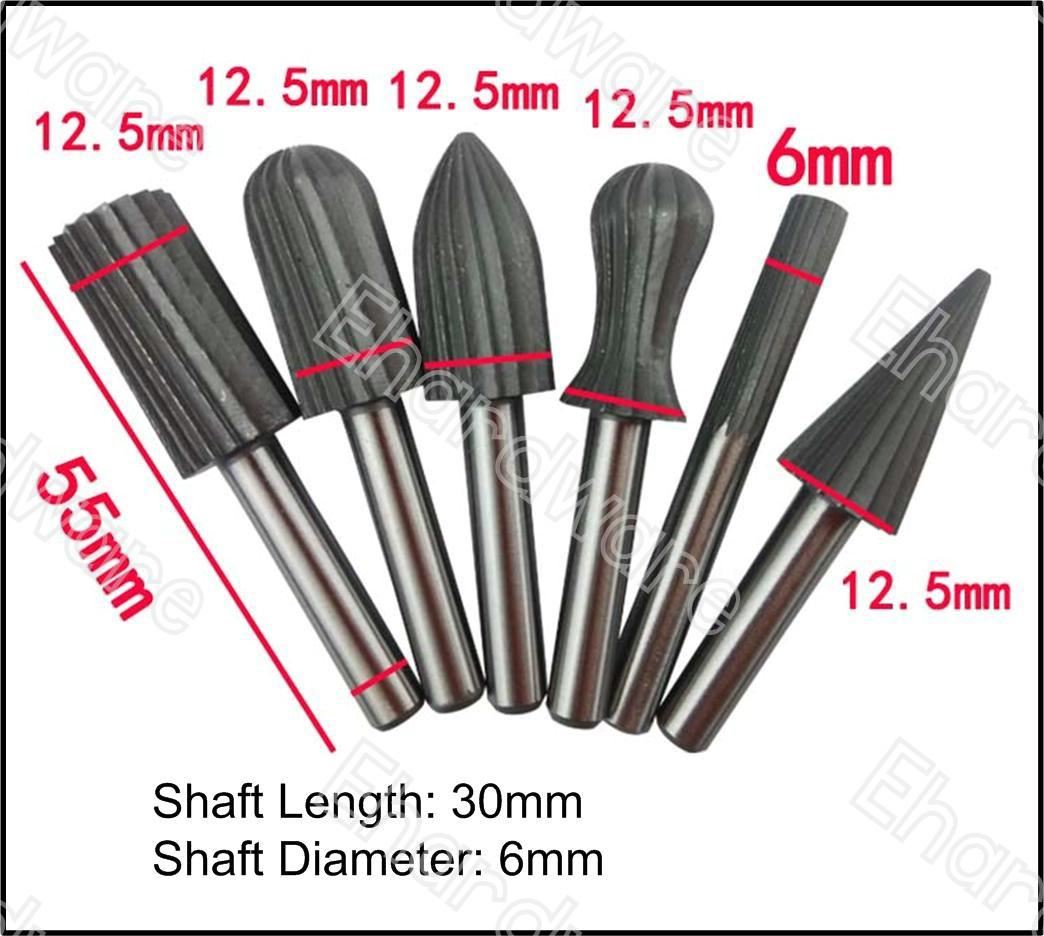 6PCS 6MM SHANK ROTARY FILE GRINDING SET (WRB6X6)