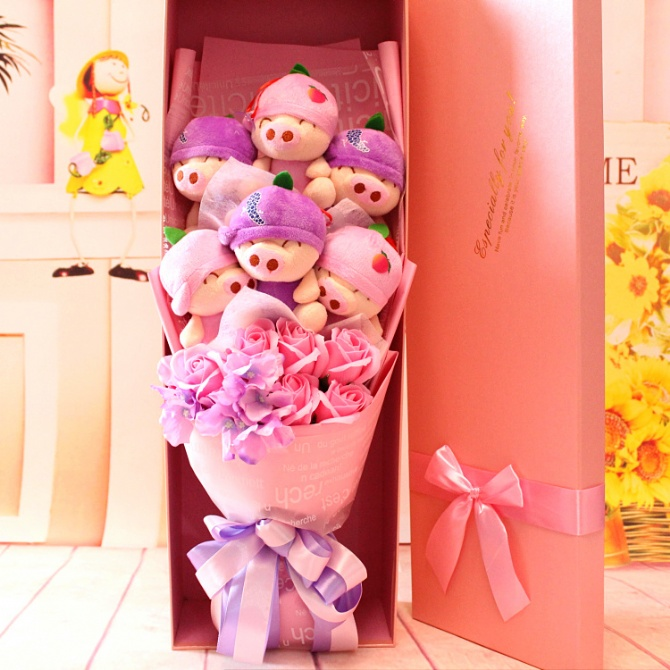 6pcs fruit pig with 6pcs soap flower and gift box