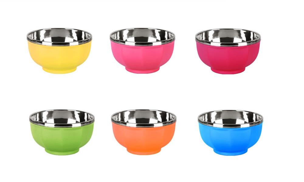6pcs Lovely Double Insulated Stainless Steel Bowl Set (Multi Colour)