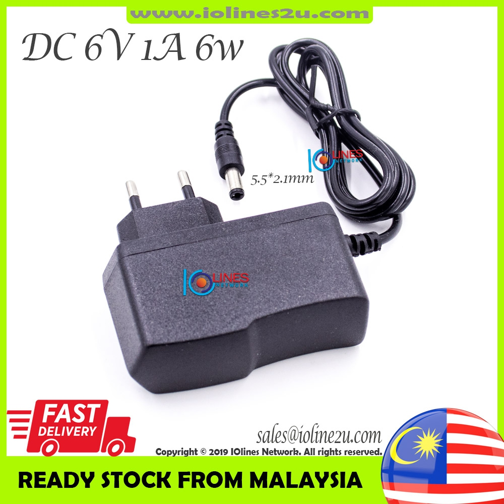 6V DC 6W 1A 1000mA Switching Power supply adapter PSU 5.5mm 2.1mm 230V AC