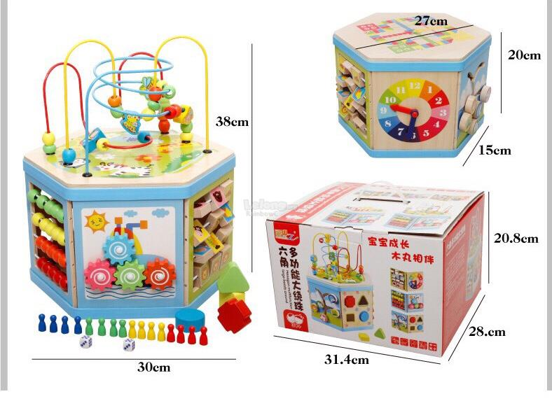7 in 1 Kids Wooden Activities Learning Educational Maze Cube Toy