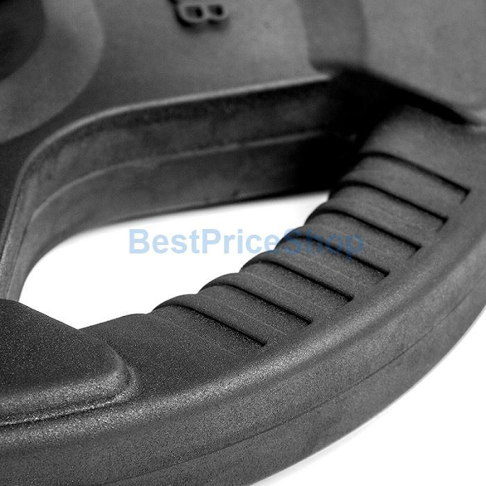 7.5KG 5CM Hole Tri Grip Rubber Coated Iron Weight Plate Handhold Gym