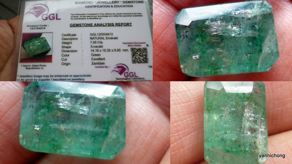 7.95 CARATS  NATURAL  GREEN EMERALD ZAMBIA