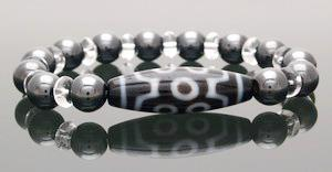 7 Eyed Dzi Bead with Hematite Bracelet