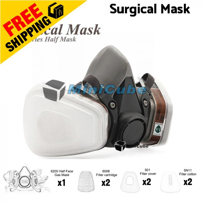 7 pcs Suit Respirator Painting Spraying Face Gas Mask 6200 6001 5N1