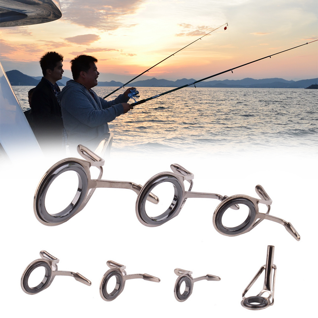 7 pcs Vintage Oval Fishing Tips Rod Guides Ring Stainless Pole Repair ..