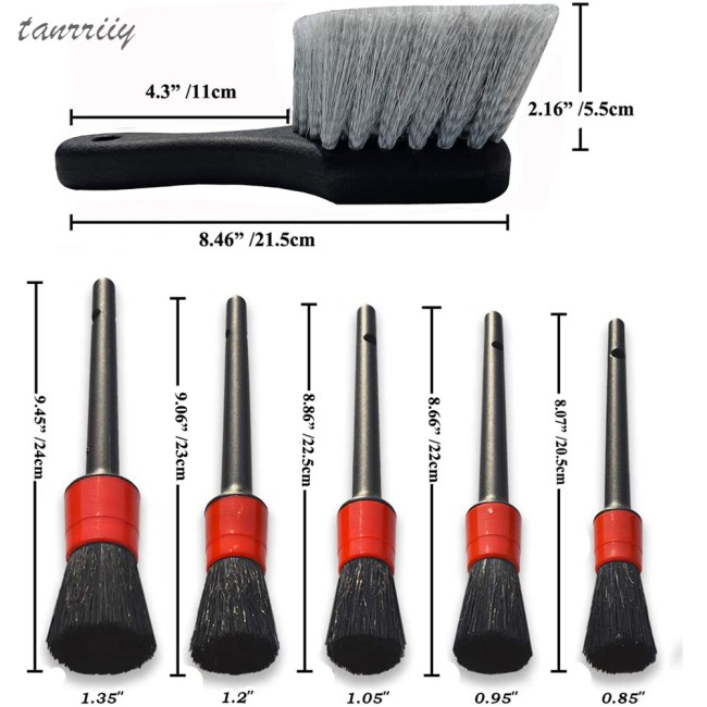 7 PIECE(s) Wheel Tire Brush Car Detailing Kit Soft Wheel Bru - [BLACK]
