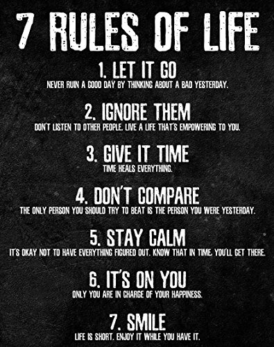 .7 Rules of Life Motivational Poster - Printed on Premium Cardstock Paper - Si