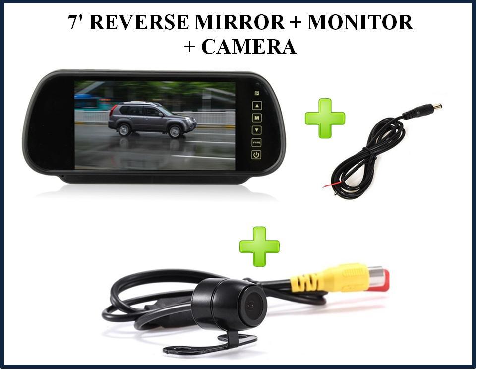 7' tft lcd reverse mirror + monitor + camera  ‹ ›