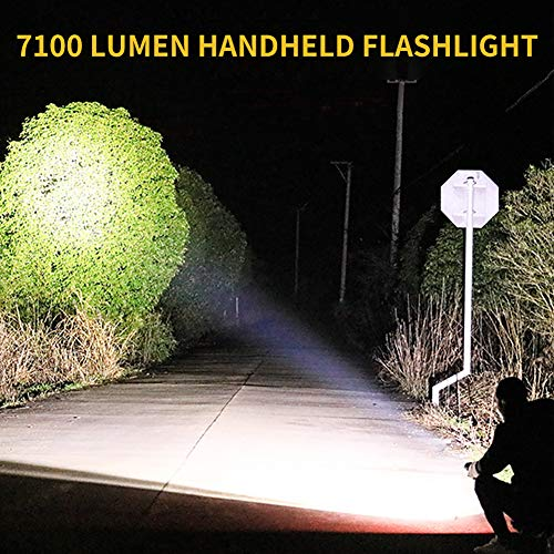 7100 Lumen Handheld Flashlight with 18650 Rechargeable Batteries LED Tactical