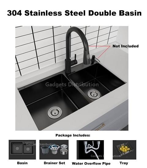 75*41cm Black 304 Stainless Steel Kitchen Double Basin Sink Bin 2572.1